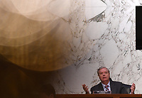 United States Senator Lindsey Graham (Republican of South  Carolina), Chairman, US Senate Judiciary Committeespeaks during a Senate Judiciary Committee confirmation hearing on the nomination of Amy Coney Barrett for Associate Justice of the Supreme Court, on Capitol Hill in Washington, DC on Thursday, October 15, 2020.  If confirmed, Barrett will replace Justice Ruth Bader Ginsburg, who died last month.  <br /> Credit: Kevin Dietsch / Pool via CNP /MediaPunch