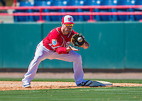 28 February 2016: Washington Nationals infielder Scott Sizemore in action during an inter-squad pre-season Spring Training game at Space Coast Stadium in Viera, Florida. Mandatory Credit: Ed Wolfstein Photo *** RAW (NEF) Image File Available ***