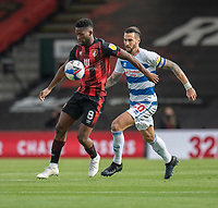 Bournemouth's Jefferson Lerma (left) under pressure from Queens Park Rangers' Geoff Cameron (right) <br /> <br /> Photographer David Horton/CameraSport<br /> <br /> The EFL Sky Bet Championship - Bournemouth v Queens Park Rangers - Saturday 17th October 2020 - Vitality Stadium - Bournemouth<br /> <br /> World Copyright © 2020 CameraSport. All rights reserved. 43 Linden Ave. Countesthorpe. Leicester. England. LE8 5PG - Tel: +44 (0) 116 277 4147 - admin@camerasport.com - www.camerasport.com