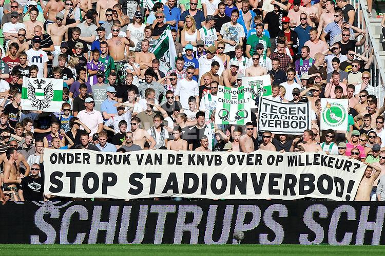 GRONINGEN - Voetbal, FC Groningen - Ajax , Eredivisie, stadion Euroborg, seizoen 2011-2012, 02-10-2011 spandoek tegen stadionverbod. ANP PRO SHOTS