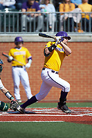 Alec Burleson (19) of the East Carolina Pirates follows through on his swing against the Charlotte 49ers at Hayes Stadium on March 8, 2020 in Charlotte, North Carolina. The Pirates defeated the 49ers 4-1. (Brian Westerholt/Four Seam Images)