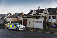 Pictured: A police cordon outside the property in Chaddesley Terrace in Cromwell Street, Swansea, Wales, UK. Sunday 29 November 2020<br /> Re: At approximately 12:30am on Sunday, 29th November, 2020, police were called to Cromwell Street following a serious assault at an address.<br /> A 19 year-old man sustained a serious but non-life threatening puncture injury and is currently in a stable condition in hospital in Swansea, Wales, UK.<br /> An investigation into the incident is now underway.<br /> Two men, 27 and 45, were arrested in connection with the incident and are currently in police custody - those involved are understood to be known to one another.<br /> A knife has been recovered by officers investigating the incident and a scene is being preserved at the address.