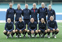 MAR 15, 2006: Faro, Portugal:  The USWNT stands for the team photo before their game against Germany in the finals of the Algarve Cup in Faro, Portugal.