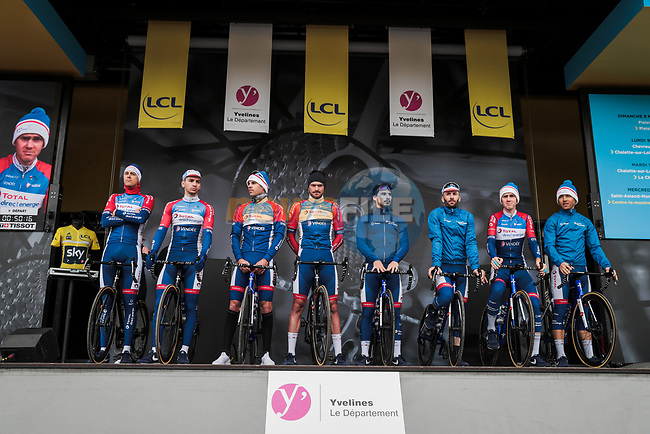 Total Direct Energie on stage at the Team Presentation before the 78th edition of Paris-Nice 2020, Plaisir, France. 8th March 2020.<br /> Picture: ASO/Fabien Boukla | Cyclefile<br /> All photos usage must carry mandatory copyright credit (© Cyclefile | ASO/Fabien Boukla)