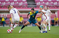 KASHIMA, JAPAN - JULY 27: Chloe Logarzo #6 of the Australia defending her area during a game between Australia and USWNT at Ibaraki Kashima Stadium on July 27, 2021 in Kashima, Japan.