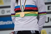 Lucinda Brand's (NED/Baloise Trek Lions) golden medal<br /> <br /> UCI 2021 Cyclocross World Championships - Ostend, Belgium<br /> <br /> Women's Race<br /> <br /> ©kramon