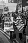 Racism 1970s London UK. United Against Racialism Labour Party and TUC rally and march Trafalgar Square 1976 England.