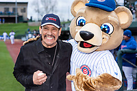 Actor Danny Trejo poses with Stu before a Midwest League game between the South Bend Cubs and the Cedar Rapids Kernels at Four Winds Field on May 7, 2019 in South Bend, Indiana. (Zachary Lucy/Four Seam Images)