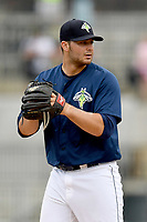 Relief pitcher Joseph Zanghi (39) of the Columbia Fireflies in a game against the Lexington Legends on Sunday, April 23, 2017, at Spirit Communications Park in Columbia, South Carolina. Lexington won, 4-2. (Tom Priddy/Four Seam Images)