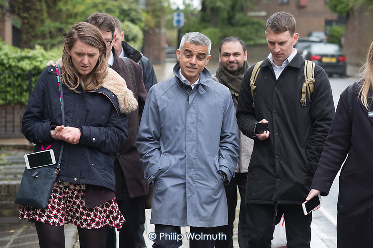 Sadiq Khan with Camden Council leader Georgia Gould.  Labour Party local election campaign, Fortune Green, West Hampstead and Swiss Cottage wards, London Borough of Camden.