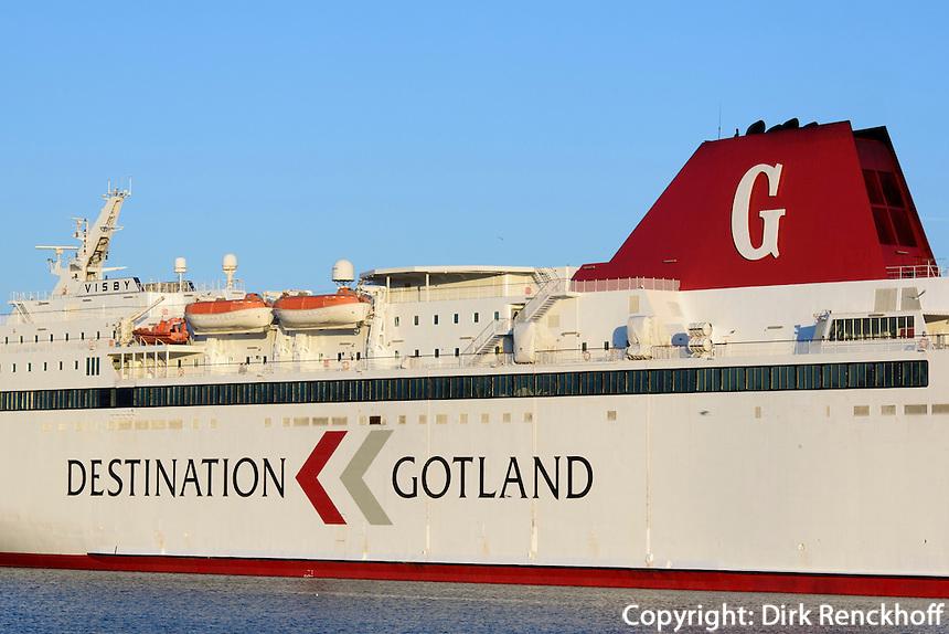 Gotlandfähre  in Oskarshamn, Provinz Kalmar, Schweden, Europa<br /> Gotand ferry in Oskarshamn  Province Kalmar, Sweden