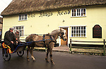 The Kings Head, Low House. The village pub regulars arrive by Pony and Trap East Anglia UK 1980s