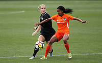 Portland, OR - Wednesday March 14, 2018: Linda Motlhalo, Nikki Stanton during a National Women's Soccer League (NWSL) pre season match between the Houston Dash and the Chicago Red Stars at Merlo Field.