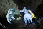 Bat researchers studying white-nose syndrome entering Vermont's Aeolus Cave.