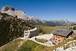 Italy, South Tyrol, Alto Adige, Rifugio Vallandro and ruins of mountain hotel Duerrenstein at Dolomites Trekking Trail Nr. 3
