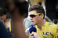 Lots of media attention at the start for yellow jersey Greg Van Avermaet (BEL/BMC) in the morning of stage 8 in Pau (towards Bagnères-de-Luchon, 184km)<br /> <br /> 103rd Tour de France 2016