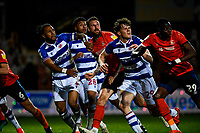 21st April 2021; Kenilworth Road, Luton, Bedfordshire, England; English Football League Championship Football, Luton Town versus Reading; Players from both teams with a penalty area tussle for the ball.