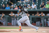 Right fielder Mikey Edie (46) of the Augusta GreenJackets bats in a game against the Columbia Fireflies on Friday, May 31, 2019, at Segra Park in Columbia, South Carolina. Augusta won, 8-6. (Tom Priddy/Four Seam Images)