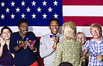 Voters react as they are being greeted as Democratic Presidential candidate Hillary Clinton leave the stage after a Sept. 19th, 2016 campaign event at Temple University, in Philadelphia, PA.
