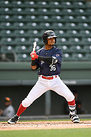 Second baseman Kervin Suarez (36) of the Greenville Drive bats in a game against the Augusta GreenJackets on Wednesday, April 25, 2018, at Fluor Field at the West End in Greenville, South Carolina. Augusta won, 9-2. (Tom Priddy/Four Seam Images)
