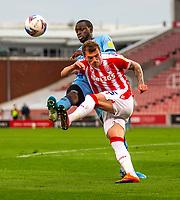 21st April 2021; Bet365 Stadium, Stoke, Staffordshire, England; English Football League Championship Football, Stoke City versus Coventry; Josh Tymon of Stoke City clears the ball