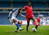 Blackburn Rovers' Ryan Nyambe battles with Nottingham Forest's Sammy Ameobi<br /> <br /> Photographer Alex Dodd/CameraSport<br /> <br /> The EFL Sky Bet Championship - Blackburn Rovers v Nottingham Forest - Saturday 17th October 2020 - Ewood Park - Blackburn<br /> <br /> World Copyright © 2020 CameraSport. All rights reserved. 43 Linden Ave. Countesthorpe. Leicester. England. LE8 5PG - Tel: +44 (0) 116 277 4147 - admin@camerasport.com - www.camerasport.com