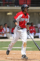 Michael Griffin #18 of the Carolina Mudcats hitting during a game against the Tennessee Smokies on April 20, 2010 in Zebulon, NC.