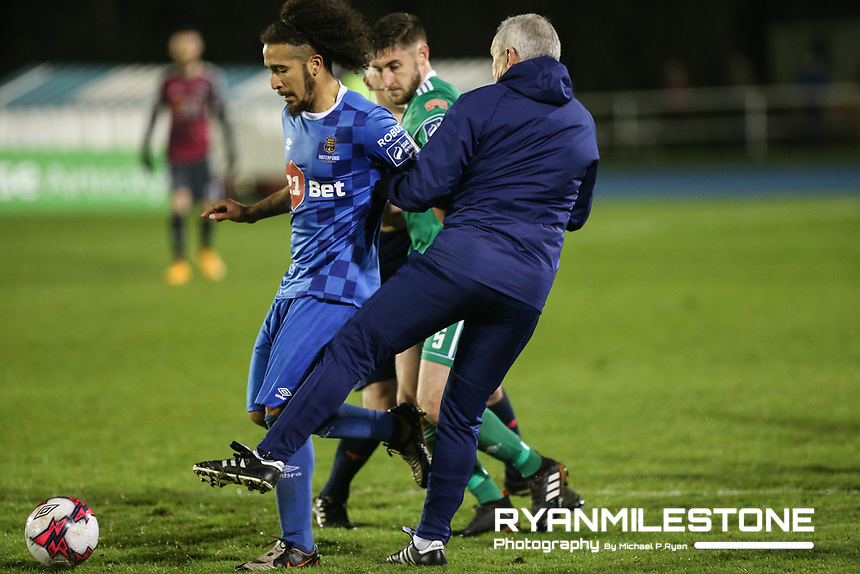 John Caulfield with Bastien Héry of Waterford during the SSE Airtricity League Premier Division game between Waterford FC and Cork City on Friday 6th April 2018 at The RSC, Waterford. Photo By Michael P Ryan