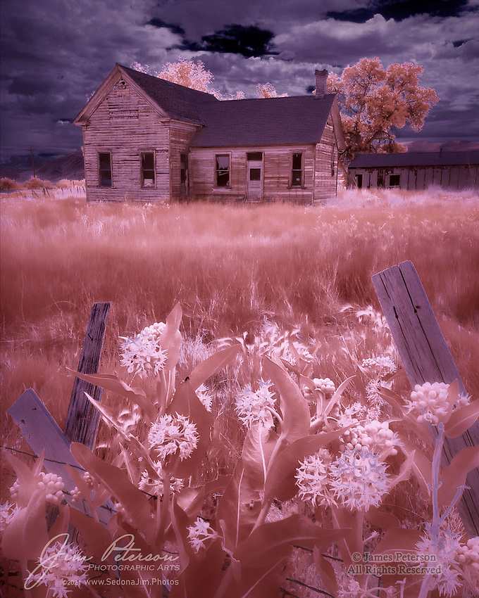East of Richfield (Infrared).  Not far from the small town of Glenwood, Utah, you'll pass this abandoned homestead along Highway 119.  A farming family once lived here, and this decaying house does its best to preserve the echoes of their lives.<br /> <br /> Tech info:  Nikon D3200 camera (modified for infrared with 590nm filter), Nikon 10-24mm lens at 17mm, 1/250 sec. at f11, ISO 200.<br /> <br /> Image ©2021 James D. Peterson