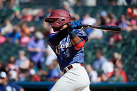 Frisco RoughRiders Andretty Cordeo (4) bats during a Texas League game against the Amarillo Sod Poodles on May 19, 2019 at Dr Pepper Ballpark in Frisco, Texas.  (Mike Augustin/Four Seam Images)