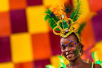 An Afro-Colombian dancer takes part in the San Pacho festival in Quibdó, Colombia, 3 October 2019. Every year at the turn of September and October, the capital of the Pacific region of Chocó holds the celebrations in honor of Saint Francis of Assisi (locally named as San Pacho), recognized as Intangible Cultural Heritage by UNESCO. Each day carnival groups, wearing bright colorful costumes and representing each neighborhood, dance throughout the city, supported by brass bands playing live music. The festival culminates in a traditional boat ride on the Atrato River, followed by massive religious processions, which accent the pillars of Afro-Colombian's identity – the Catholic devotion grown from African roots.
