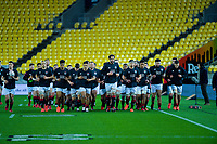 The South team finish their warmup for the rugby match between North and South at Sky Stadium in Wellington, New Zealand on Saturday, 5 September 2020. Photo: Dave Lintott / lintottphoto.co.nz