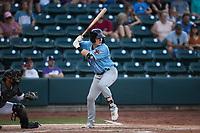 Kellen Strahm (33) of the Hickory Crawdads at bat against the Winston-Salem Dash at Truist Stadium on July 10, 2021 in Winston-Salem, North Carolina. (Brian Westerholt/Four Seam Images)