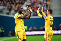 Goal of Romelu Lukaku forward of Belgium, Eden Hazard midfielder of Belgium  <br /> Saint Petersbourg  - Qualification Euro 2020 - 16/11/2019 <br /> Russia - Belgium <br /> Foto Photonews/Panoramic/Insidefoto <br /> ITALY ONLY