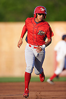 Williamsport Crosscutters shortstop Arquimedes Gamboa (4) running the bases during a game against the Auburn Doubledays on June 25, 2016 at Falcon Park in Auburn, New York.  Auburn defeated Williamsport 5-4.  (Mike Janes/Four Seam Images)