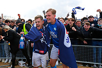 1st May 2021; Weston Homes Stadium, Peterborough, Cambridgeshire, England; English Football League One Football, Peterborough United versus Lincoln City; Sammie Szmodics and Louis Reed of Peterborough United celebrates outside The Weston Homes Stadium after winning promotion to the EFL Championship