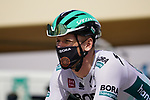 Pascal Ackermann (GER) Bora-Hansgrohe heads to sign on before the start of Stage 3 of the 2021 UAE Tour running 166km from Al Ain to Jebel Hafeet, Abu Dhabi, UAE. 23rd February 2021.  <br /> Picture: Eoin Clarke | Cyclefile<br /> <br /> All photos usage must carry mandatory copyright credit (© Cyclefile | Eoin Clarke)
