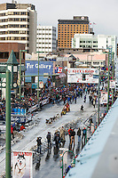 Mitch Seavey leaves the start line on 4th avenue during the cermonial start day of Iditarod 2015 in Anchorage, Alaska. Saturday March 7, 2015<br /> <br /> (C) Jeff Schultz/SchultzPhoto.com - ALL RIGHTS RESERVED<br />  DUPLICATION  PROHIBITED  WITHOUT  PERMISSION