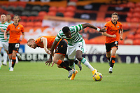 22nd August 2020; Tannadice Park, Dundee, Scotland; Scottish Premiership Football, Dundee United versus Celtic; Odsonne Edouard of Celtic challenges for the ball with Mark Reynolds of Dundee United