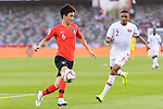 Hwang Inbeom of South Korea (L) fights for the ball with Pedro Correia of Qatar (R) during the AFC Asian Cup UAE 2019 Quarter Finals match between Qatar (QAT) and South Korea (KOR) at Zayed Sports City Stadium  on 25 January 2019 in Abu Dhabi, United Arab Emirates. Photo by Marcio Rodrigo Machado / Power Sport Images