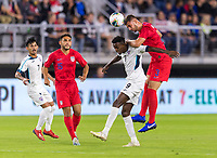 WASHINGTON, DC - OCTOBER 11: Matt Miazga #3 of the United States goes up for a header with Maykel Reyes #9 of Cuba during a game between Cuba and USMNT at Audi Field on October 11, 2019 in Washington, DC.