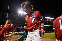 Blaze Alexander (21) of Bishop Verot High School in Cape Coral, Florida during the Under Armour All-American Game presented by Baseball Factory on July 29, 2017 at Wrigley Field in Chicago, Illinois.  (Jon Durr/Four Seam Images)