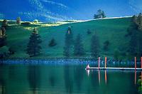 Boy fishing. Wallowa Lake, Oregon.