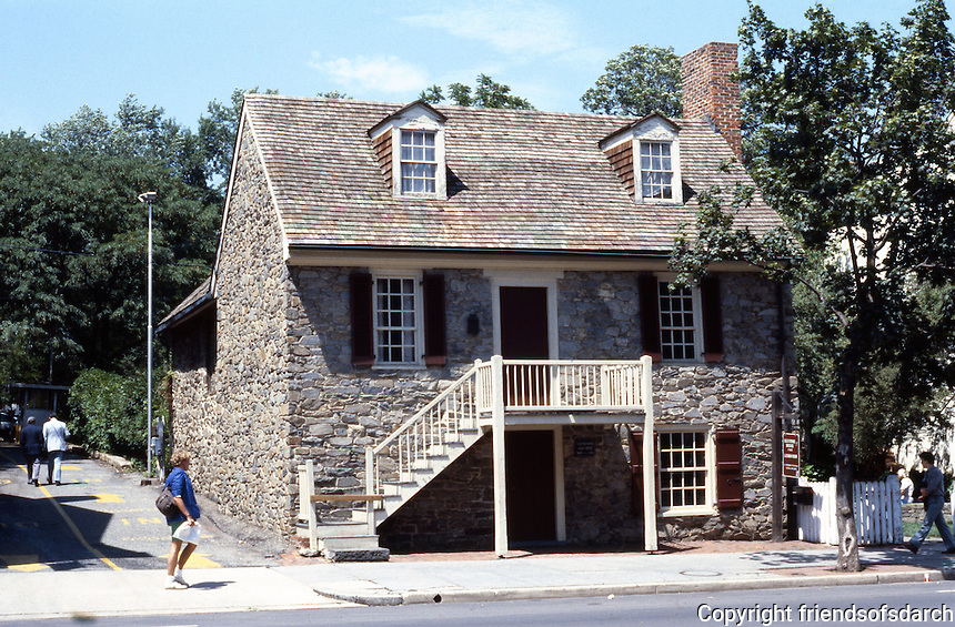 D.C.: Georgetown--Old stone house, c. 1765. 3051 M St. NW--oldest surviving structure in town. Photo '85.