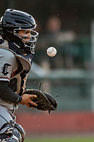29 August 2019: Connecticut Tigers catcher Eliezer Alfonzo blocks a pitch with his chest protector during a game against the Vermont Lake Monsters at Centennial Field in Burlington, Vermont. The Tigers defeated the Lake Monsters 6-2 in the first game of their NY Penn League double-header.  Mandatory Credit: Ed Wolfstein Photo *** RAW (NEF) Image File Available ***