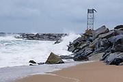 Salisbury Beach State Reservation in Salisbury, Massachusetts USA on a very cloudy day.