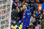 Lionel Messi of FC Barcelona in reacts during the Copa Del Rey 2017-18 match between FC Barcelona and Valencia CF at Camp Nou Stadium on 01 February 2018 in Barcelona, Spain. Photo by Vicens Gimenez / Power Sport Images