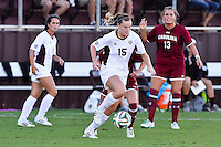 Texas A&M midfielder/forward Kelley Monogue (15) during NCAA soccer game, Sunday, October 26, 2014 in College Station, Tex. South Carolina draw 2-2 against Texas A&M in double overtime. (Mo Khursheed/TFV Media via AP Images)