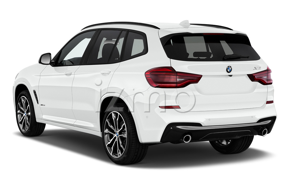 Car pictures of rear three quarter view of 2018 BMW X3 M-Sport 5 Door SUV Angular Rear