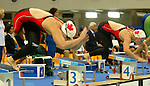 Chelsey Gottell and Stephanie Dixon  jumping in the pool in the 400 m freestyle. St?phanie Dixon won silver.<br /> (Benoit Pelosse photographe)